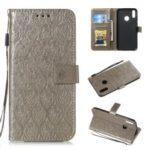 Imprint Leaf Leather Wallet Case for Huawei Y7 (2019) / Enjoy 9 / Y7 Pro (2019) – Grey