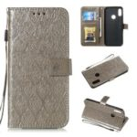 Imprint Rattan Flower Pattern Wallet Stand Leather Case with Strap for Huawei Honor 8A / Huawei Y6 (2019, with Fingerprint Sensor) / Y6 Prime (2019) – Grey
