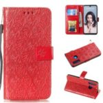Imprint Rattan Flower Pattern Wallet Flip Leather Phone Cover with Strap for Huawei P30 Lite / Huawei Nova 4e – Red
