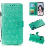Imprint Rattan Flower Pattern Wallet Flip Leather Phone Cover with Strap for Huawei P30 Lite / Huawei Nova 4e – Green