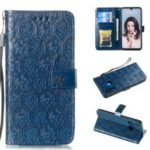 Imprint Rattan Flower Pattern Wallet Flip Leather Phone Cover with Strap for Huawei P30 Lite / Huawei Nova 4e – Dark Blue