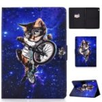 Shock-proof Pattern Printing Card Slot PU Leather Tablet Casing for Huawei MediaPad T5 10 – Cycling Cat