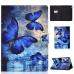 Shock-proof Pattern Printing Card Slot Stand PU Leather Tablet Case for Huawei MediaPad T3 10 – Blue Butterflies