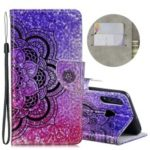 Laser Carving Pattern Printing Wallet Stand Leather Case with Strap for Huawei P30 Lite/nova 4e – Flower