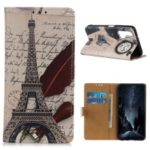 Pattern Printing Leather Wallet Phone Case for Huawei Honor 20 Pro – Eiffel Tower and Characters