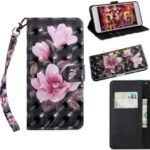 Pattern Printing Light Spot Decor Leather Wallet Phone Cover for Huawei Honor 20 Lite – Pink Flowers