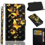 Light Spot Decor Patterned Leather Wallet Case for Huawei Honor 20 Pro – Golden Butterfly