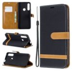 Assorted Color Jeans Cloth Wallet Stand Leather Case for Huawei P Smart Z – Black