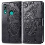 Imprint Butterfly Flower Leather Wallet Case for Huawei P Smart Z – Black