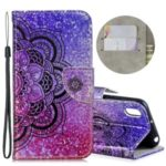 Laser Carving Pattern Printing Flip Leather Shell with Strap for Huawei Y5 (2019) / Honor 8S – Flower