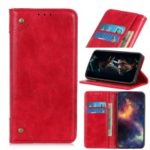 Crazy Horse Auto-absorbed Split Leather Wallet Phone Case for Motorola Moto E6 – Red
