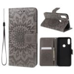 Imprint Sunflower Pattern Wallet Stand Leather Phone Shell for Xiaomi Mi Play – Grey
