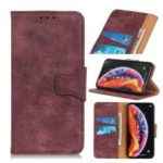 Vintage Style PU Leather Wallet Phone Shell for Xiaomi Mi Mix 3 5G – Purple