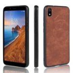 PU Leather Coated TPU Back Phone Casing for Xiaomi Redmi 7A – Brown