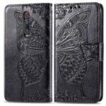 Imprint Butterfly Flower Leather Wallet Case for Xiaomi Redmi K20 / Mi 9T / Redmi K20 Pro / Mi 9T – Black