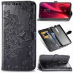 Embossed Mandala Flower Leather Wallet Case for Xiaomi Redmi K20 / Mi 9T / Redmi K20 Pro / Mi 9T Pro – Black