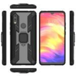 Warrior Style Rotating Ring Kickstand PC+TPU Cell Phone Case for Xiaomi Redmi 7 – Black