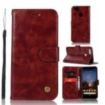 Premium Vintage Leather Wallet Case for Google Pixel 3a XL – Wine Red