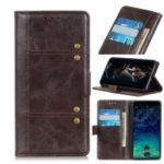 Rivet Decorated PU Leather+TPU with Wallet Slot Phone Cover for Asus Zenfone 6 ZS630KL – Coffee