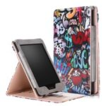Pattern Printing PU Leather Stand Case with Hand Strap for Amazon Kindle Paperwhite 4/3/2/1- Graffiti