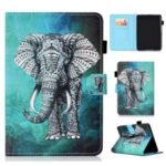 Pattern Printing Card Slots Stand Flip Leather Tablet Case with Stylus Pen Holder for Amazon All-New Kindle (2019) – Elephant