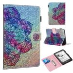 Pattern Printing Glitter Sequins Leather Wallet Case Cover for Amazon New Kindle 658 6 Inch (10th Generation 2019) – Mandala Flower