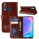 Crazy Horse Wallet Leather Stand Mobile Phone Case for VIVO Y17 / Y3 – Brown