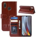 Magnetic Leather Wallet Phone Protective Cover for Oppo Realme 3 Pro/Realme X Lite – Brown