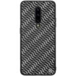 NILLKIN Shiny Series PU Leather+PC+TPU Hybrid Phone Case for OnePlus 7 Pro – Silver / Black