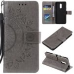 Imprint Flower Leather Wallet Case for OnePlus 7 – Grey