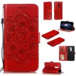 Imprint Mandala Flower Leather Wallet Case for OnePlus 7 Pro – Red