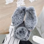 Adorable Long Ears Rabbit Shape Fur Coated Soft TPU Phone Case for OnePlus 7 – Dark Grey
