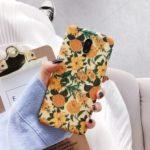 Yellow Flower Embossment Luminous Phone Casing for OnePlus 7