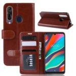 Crazy Horse Grain PU Leather Stand Wallet Flip Case for Wiko View 3 Pro – Brown