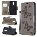 Imprint Butterfly Leather Wallet Casing for Nokia 3.2 – Grey