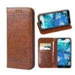 Imprint Hearts Leather Wallet Case for Nokia 5.1 – Brown