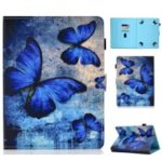 Universal Pattern Printing Card Slots Stand Leather Protective Case for 8-inch Tablet – Blue Butterflies