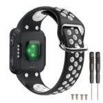 Dual Color Silicone Smart Bracelet Strap [with Screws and Installation Tool] for Garmin Forerunner 35 – Black / White