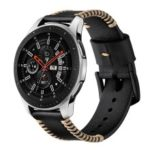 20mm Genuine Leather Watch Band Wristband with Hand Sewn Edges for Samsung Galaxy Watch Active – Black