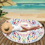 Printed Microfiber Round Beach Towel Tapestry Portable Tassel Blanket – English Letters and Mandala Flower