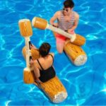 [2pcs] Wood Shape Funny Beach Swimming Pool Inflatable Floating Row Water Play Tool – Brown