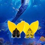 Teen Teenager Mermaid Swim Fin Diving Monofin Swimming Foot Flipper, Fits Shoe Sizes 35~42 – Yellow