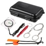 Compass/Fire Starter/Whistle/Wire Saw Outdoor Emergency Equipment SOS Kit First Aid Box for Camping Travel