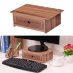 Monitor Riser Wood Stand Organizer with Pen Holder Drawer for School Office Home Stationery Storage