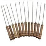 12Pcs Barbecue Needle Skewers Wooden Handle Stainless Steel Fork Camping Dining Tools