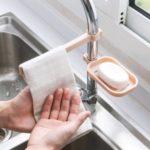 Faucet Clip Hanging Storage Rack Soap Towel Organizer Holder – Light Pink