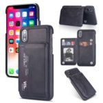 PU Leather + PC Card Holder Kickstand Phone Casing for iPhone XS Max 6.5 inch – Black
