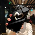 Pattern Printing Tempered Glass + TPU Hybrid Case for iPhone XS 5.8 inch – Black / Heart