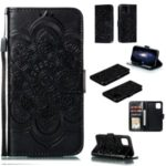 Imprinted Sun Mandala Flower Pattern Leather Wallet Casing for iPhone (2019) 6.1-inch – Black