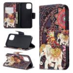 Pattern Printing PU Leather Wallet Stand Phone Cover for iPhone XS 5.8 inch – Elephant and Malanda Flower